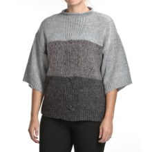 August Silk Funnel Neck Sweater - 3/4 Sleeve (For Women) in Grey Multi Marl - Closeouts