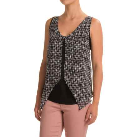 August Silk Georgette Overlay Tank Top (For Women) in Geo Wheel - Closeouts