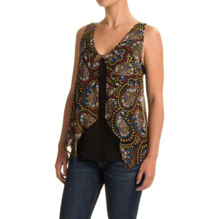 August Silk Georgette Overlay Tank Top (For Women) in Paisley - Closeouts