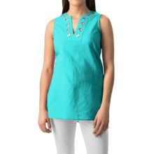 August Silk Grommet Tunic Shirt - Linen-Cotton, Sleeveless (For Women) in Gulf Aqua - Closeouts