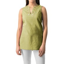 August Silk Grommet Tunic Shirt - Linen-Cotton, Sleeveless (For Women) in Lime Sorbet - Closeouts