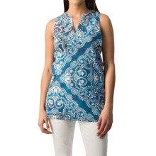 August Silk Grommet Tunic Shirt - Linen-Cotton, Sleeveless (For Women) in Printed Paisley Scarf - Closeouts
