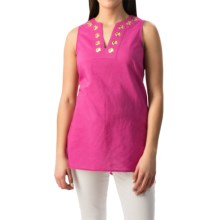 August Silk Grommet Tunic Shirt - Linen-Cotton, Sleeveless (For Women) in Spring Purple - Closeouts