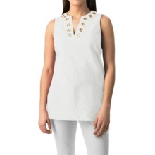 August Silk Grommet Tunic Shirt - Linen-Cotton, Sleeveless (For Women) in Uv White - Closeouts