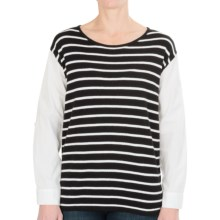 August Silk Hi-Low Sweater (For Women) in Black/White - Closeouts