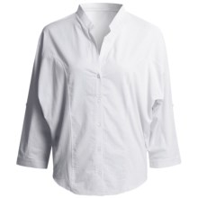 August Silk Hybrid Cocoon Shirt - Stretch Cotton, 3/4 Sleeve (For Women) in White - Overstock