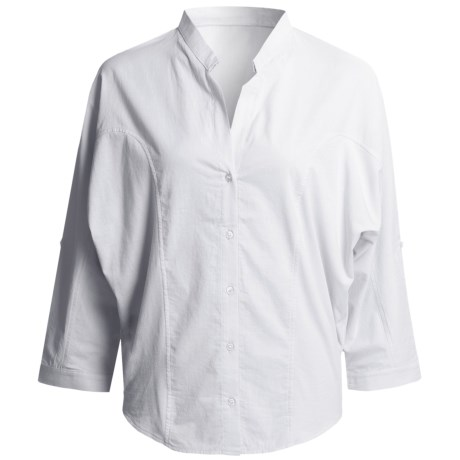 August Silk Hybrid Cocoon Shirt - Stretch Cotton, 3/4 Sleeve (For Women) in White