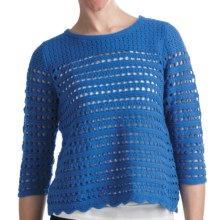 August Silk Hybrid Open Knit Shirt - Decorative Back Zipper, 3/4 Sleeve (For Women) in Bailer Blue - Closeouts