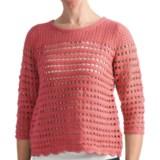 August Silk Hybrid Open Knit Shirt - Decorative Back Zipper, 3/4 Sleeve (For Women)