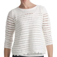 August Silk Hybrid Open Knit Shirt - Decorative Back Zipper, 3/4 Sleeve (For Women) in White - Closeouts