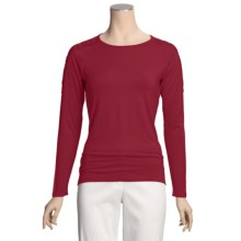August Silk Jersey Knit Shirt - Shoulder Lace, Long Sleeve (For Women) in Cordial - Closeouts
