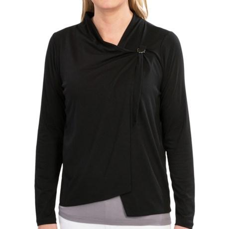 August Silk Knit Jacket - Sheer Back (For Women) in Black