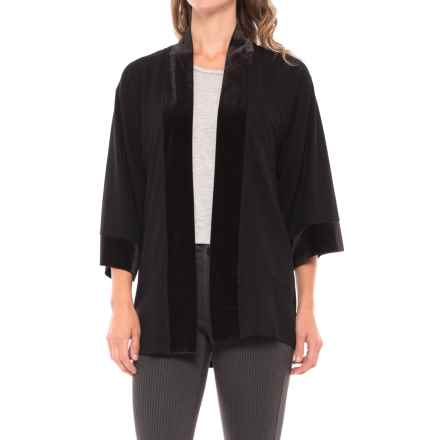August Silk Lace-Back Cardigan Shirt - Velvet Trim, 3/4 Sleeve (For Women) in Black - Closeouts
