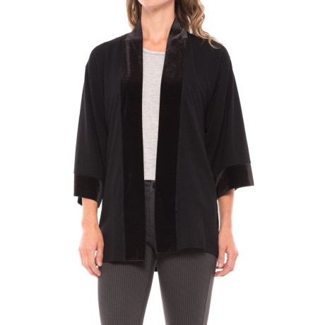 August Silk Lace-Back Cardigan Shirt - Velvet Trim, 3/4 Sleeve (For Women) in Black