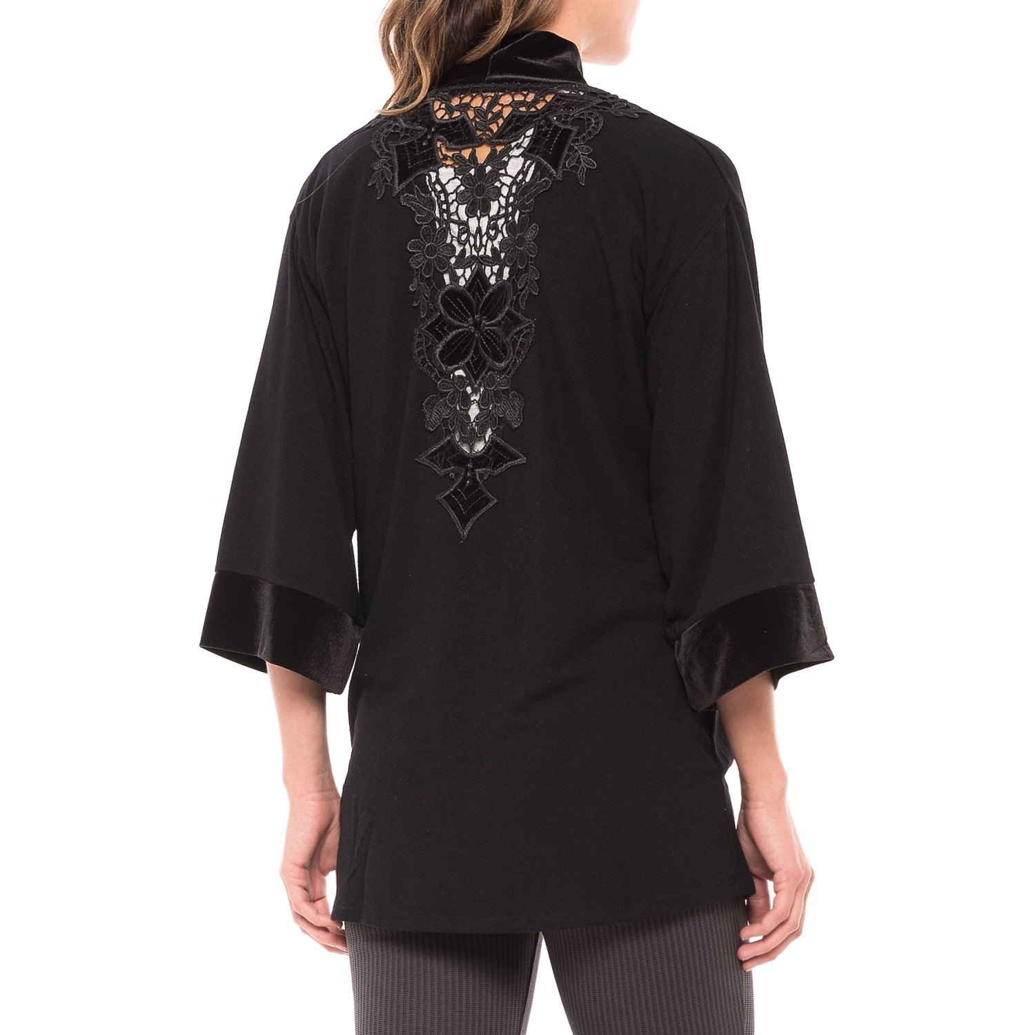 August Silk Lace-Back Cardigan Shirt (For Women)