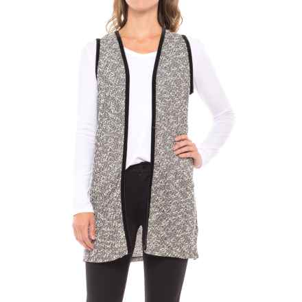 August Silk Lace-Back Vest - Velvet Trim (For Women) in Black/White - Closeouts