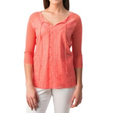 August Silk Lace-Front Blouse - 3/4 Sleeve (For Women) in Pink Grapefruit - Closeouts