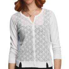 August Silk Lace Front Cardigan Sweater - Cotton-Modal, 3/4 Sleeve (For Women) in White - Closeouts