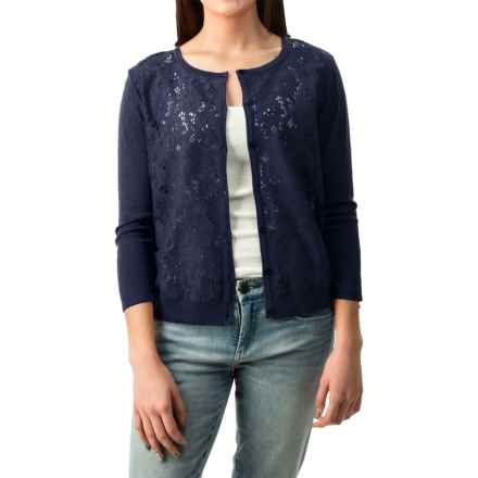 August Silk Lace-Front Cardigan Sweater - Semi Sheer (For Women) in Perfect Navy - Closeouts