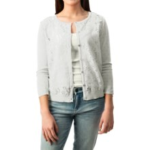 August Silk Lace-Front Cardigan Sweater - Semi Sheer (For Women) in White - Closeouts