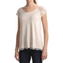 August Silk Lace Trim Shirt - Short Sleeve (For Women) in Vintage Hankie - Closeouts