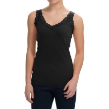 August Silk Lace-Trim Tank Top - V-Neck (For Women) in Black - Closeouts