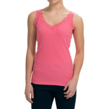 August Silk Lace-Trim Tank Top - V-Neck (For Women) in Carribean Coral - Closeouts
