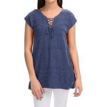 August Silk Lace-Up Sweater - Short Sleeve (For Women) in Denim Heather - Closeouts