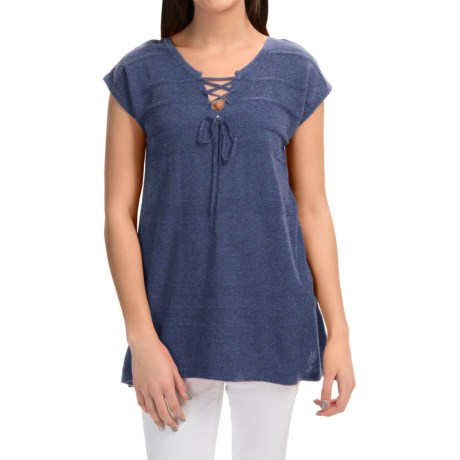 August Silk Lace Up Sweater Short Sleeve (For Women)