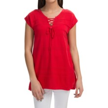 August Silk Lace-Up Sweater - Short Sleeve (For Women) in Ladybug Red - Closeouts