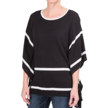 August Silk Lightweight Poncho-Style Sweater - Elbow Sleeve (For Women) in Black/White - Closeouts