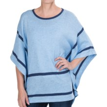 August Silk Lightweight Poncho-Style Sweater - Elbow Sleeve (For Women) in Chambray Combo - Closeouts