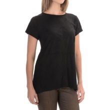 August Silk Microsuede & Knit Mixed Media Shirt - Short Sleeve (For Women) in Black/Grey - Closeouts