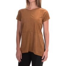 August Silk Microsuede & Knit Mixed Media Shirt - Short Sleeve (For Women) in Tan/Black - Closeouts