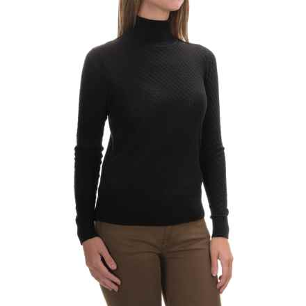 August Silk Mini-Cable Turtleneck - Cotton-Modal, Long Sleeve (For Women) in Black - Overstock