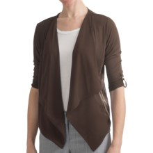 August Silk Modern Hybrid Cardigan Sweater - Drape Front, 3/4 Sleeve (For Women) in Everglade Brown - Closeouts