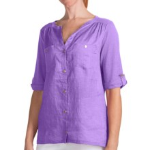 August Silk Modern Hybrid Hi-Lo Hem Shirt - Linen Blend, Short Sleeve (For Women) in Purple - Closeouts