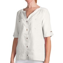 August Silk Modern Hybrid Hi-Lo Hem Shirt - Linen Blend, Short Sleeve (For Women) in Uv White - Closeouts