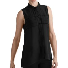 August Silk Modern Hybrid Rayon Shirt - Sleeveless (For Women) in Black - Closeouts
