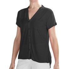 August Silk Modern Hybrid Tunic Shirt - Short Sleeve (For Women) in Black - Closeouts