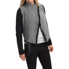 August Silk Moto Jacket Sweater (For Women) in Black/White - Closeouts