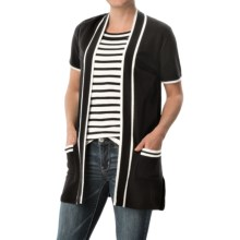 August Silk Open-Front Cardigan Sweater - Short Sleeve (For Women) in Black/White - Closeouts