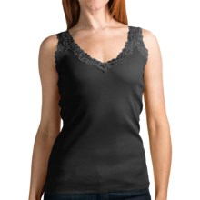 August Silk Options Lace Trim Camisole - V-Neck (For Women) in Black - Overstock