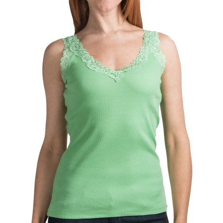 August Silk Options Lace Trim Camisole - V-Neck (For Women) in Green Tomato