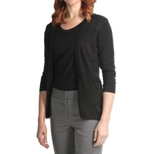 August Silk Ottoman Texture Knit Cardigan and Shell Set - 3/4 Sleeve (For Women) in Black - Closeouts