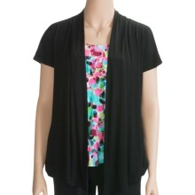 August Silk Paradise Spots Shirt - Cardigan, Short Sleeve, (For Women) in Black - Closeouts
