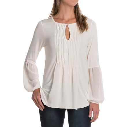 August Silk Pintuck Shirt - Rayon, Long Sleeve (For Women) in Bavarian Cream - Closeouts