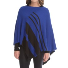 August Silk Placed Stripe Poncho (For Women) in Night/Black - Closeouts