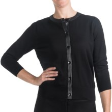 August Silk Pleather Trim Cardigan Sweater (For Women) in Black/Black - Closeouts