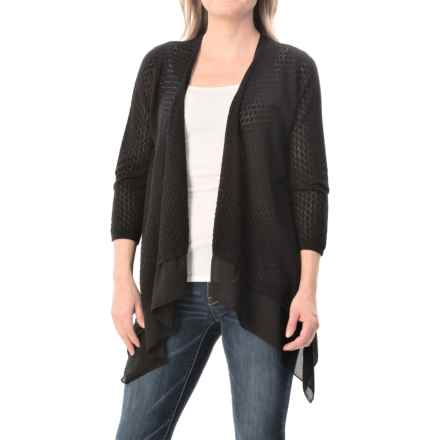 August Silk Pointelle Flyaway Cardigan Sweater - 3/4 Sleeve (For Women) in Black - Closeouts